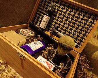 Oak Men's Shave Kit & Cologne Razor and Silvertip Badger Brush Men's Birthday and Anniversary Gift
