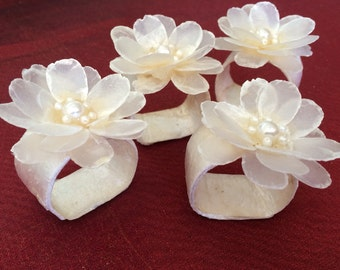 Napkin Rings Mother of Pearl Napkin Rings, with Floweral Top 4