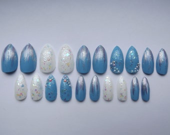 Frozen inspired fake nails