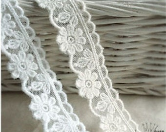 "14Yds Embroidery scalloped mesh Ribbon eyelet lace trim 0.8""(2cm) YH1442 laceking2013"