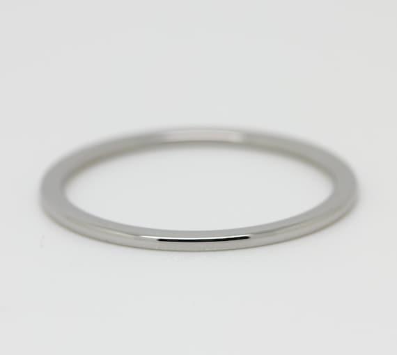1mm wide comfort fit court shape titanium plain band wedding