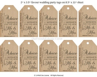 Digital wedding tags,advice & wishes tags, printable favor tags, printable favour tags, vintage postcard tags,you print