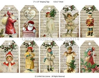 Digital Christmas tags, Printable Christmas tags, Christmas collage sheet, victorian christmas tags, you print