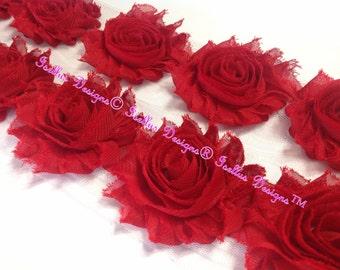 "Beautiful 6 Piece  2.5"" Red Shabby Flowers"