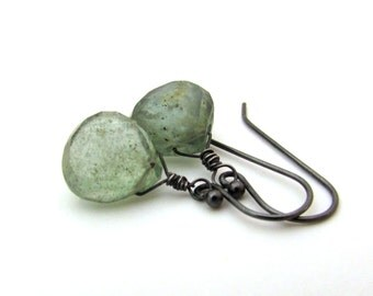 Moss aquamarine earrings, March birthstone earrings, aquamarine jewelry, oxidized silver bohemian jewelry, moss aquamarine jewelry