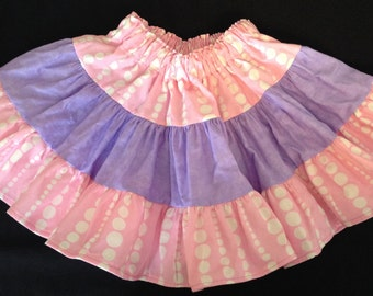 Light pink and purple little girls full ruffle skirt size 2T-4T - Ready to ship