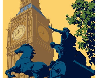 LONDON. Art print Travel/Railway Poster of Big Ben in the city of Westminster, London. A4, A3, A2 in Retro, Art Deco style design