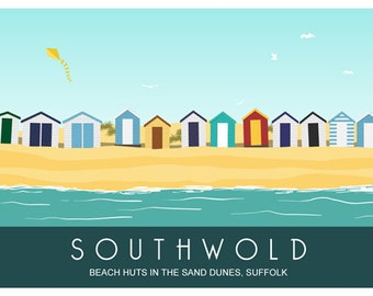 SOUTHWOLD. Art print travel poster of Beach Huts, Sand Dunes, Southwold, Suffolk. A4, A3, A2 Seaside