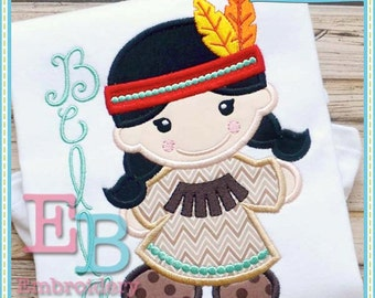 Indian Girl Applique - This design is to be used on an embroidery machine. Instant Download