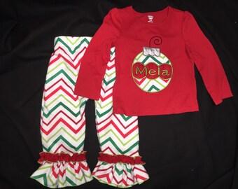 Kids Christmas Pajamas Red Green Polka Dot Plaid Snowflakes Made to Order!  Choose fabric!!