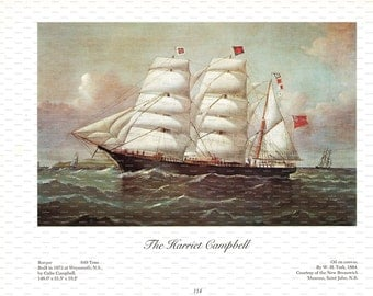 """Clipper Ship Book Plate. """"The Harriet Campbell"""". 1967."""