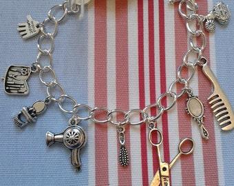 Hand Made HAIRDRESSER Gift Beauty/Beautician Inspired Silver link charm bracelet