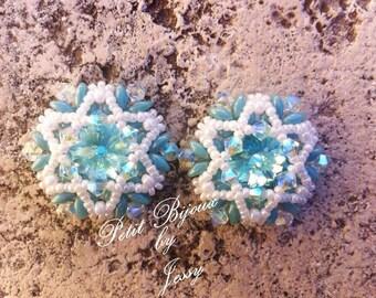 Pattern Earring Beaded Superduo- tutorial ESA-Tiffany Stars