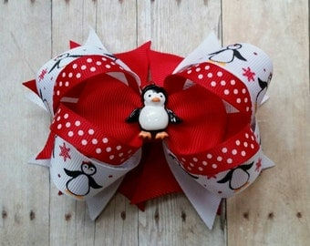 Penguin gift for girls, penguin bow for girls,  Christmas hair bow, girls boutique christmas bow, Christmas hair clip, holiday hairbow
