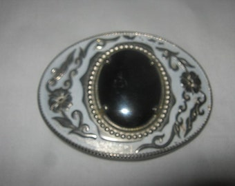 Beautiful Vintage Belt Buckle With Pale Blue And A Large Black Stone