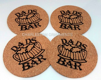 Cork Coasters - Set of 4 - DADS BAR - Cork Coaster Gift - Unique Dads Bar Coasters - Gifts for Dad - Coasters for Dad - Eco-Friendly Gift