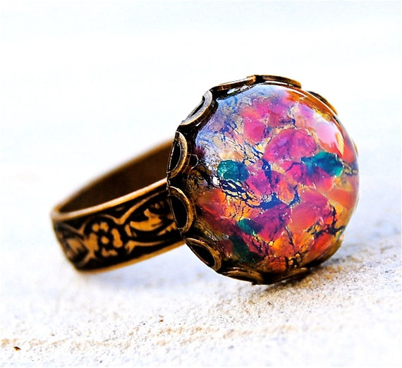 Items Similar To Opal Ring Exquisite Braided Opal: Items Similar To Opal Cocktail Ring Vintage Pink Fire Opal