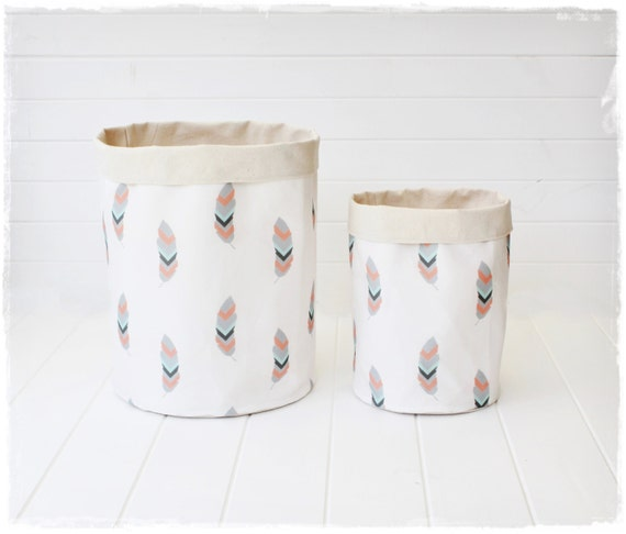 Handmade Fabric Storage Baskets : Falling feathers fabric storage baskets