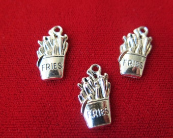 "BULK! 30pc ""fries"" charms in antique silver style (BC512B)"
