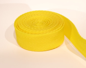 3 yards of 1 inch / 25mm yellow webbing, strap (WB6)
