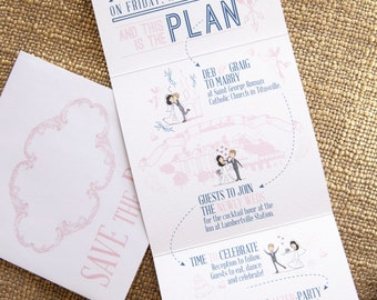 Save The Date Trifold Card featuring hand drawn illustration of Bride and Groom