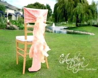 Bridal Ruffled Chair Covers MADE TO ORDER Bride and Groom Wedding Chair Decor Chiffon Chiavari Chair Willow Slipcover for Bridal Sweet Table