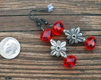 418 Long Beaded Earrings, Red and Silver Hand Beaded Earrings, Red Dangle Earrings, Long Red Earrings, Womens Accessories