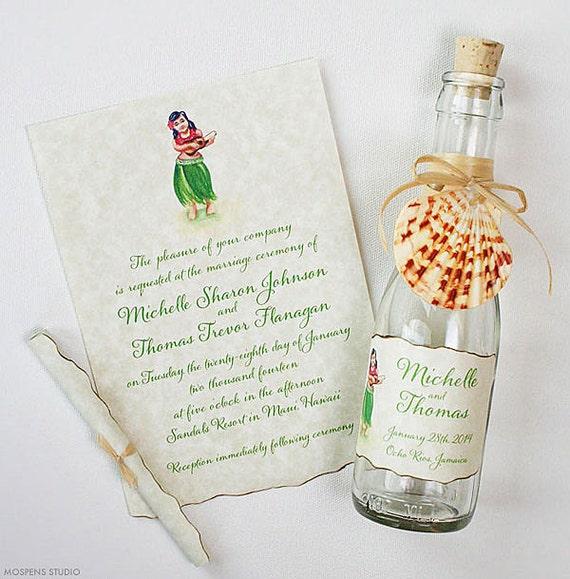 Hawaiian Wedding Gifts Traditional : Hawaiian Wedding InvitationsBottle InvitationsBeach Wedding ...