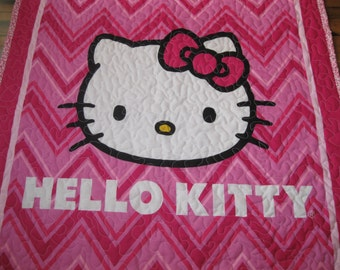 Hello Kitty quilt is 35x54 and perfect for crib or toddler bed.
