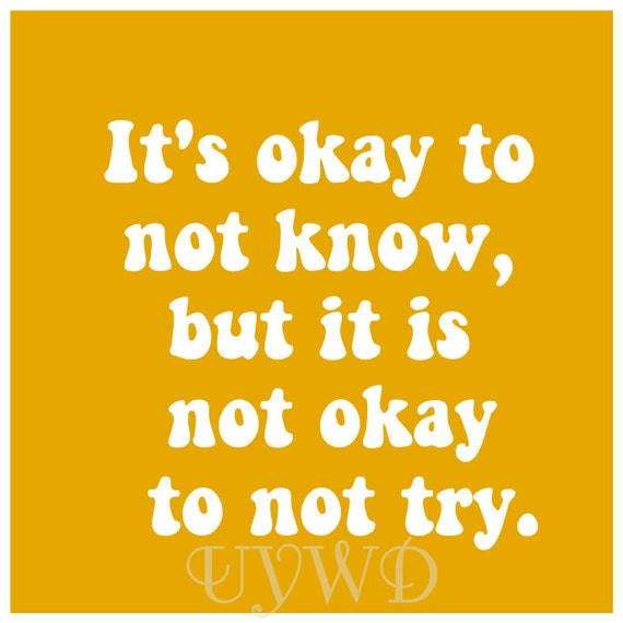 It's Okay To Not Know But It Is Not Okay To Not Try