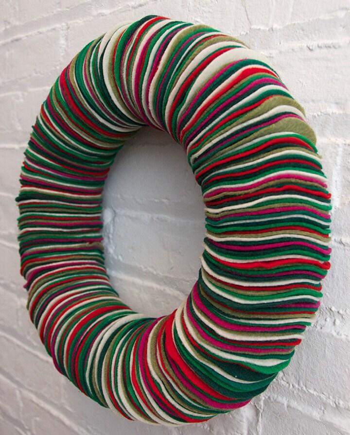 Christmas Tree Shaped Ornaments Are Handmade From 100 Recycled Eco Friendly Felt Hand: Christmas Eco-Friendly Felt Wreath // Holiday Colors