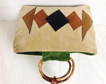Free Ship,tote bag, Geometric  purse,purses bags,Velour ,Bamboo Handle ,Handbag