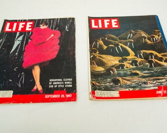 Lot of 2 ,Life Magazines, 1960, America's Norell Style and Alaskan Walrus Crown A Rocky Shore