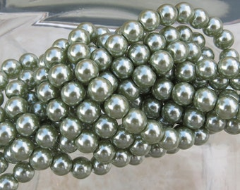 6mm Sage Green Colored Glass Pearl Strand 16in. (i138)