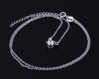 925 Sterling Silver Classic Solitaire Crystal pendant Necklace Free Shipping Worldwide By eArt  #NECK-11