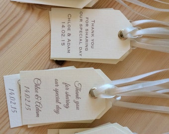 Handmade Personalisd Gift Wedding Favor Ivory Tags Vintage/Rustic Theme