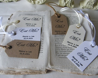 Personalised Wedding 'Eat Me' Favour Tags - Vintage