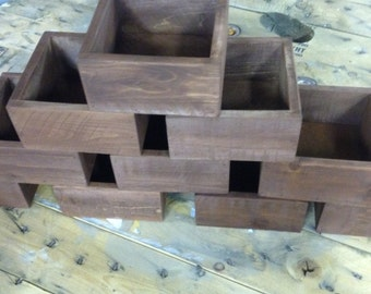 Set of Ten Rustic Wedding Centerpiece Flower Boxes, Table Centerpiece, Wood Flower Boxes