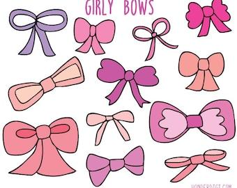 Hand drawn clip art - Bows Clip Art -  Girly Clipart - Bows Clipart