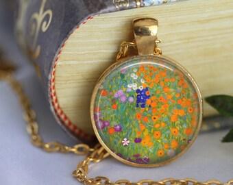 Farm Garden by Gustav Klimt Necklace Art Pendant Necklace Handmade Glass Pendant Art Nouveau Modern Art (205)