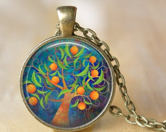 TREE OF LIFE  Necklace Glass Pendant Tree of Life Art Jewelry Glass Pendant Necklace Jewerly Your Choice of Finish necklace