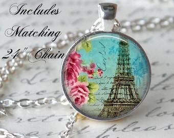 PARIS Eiffel Tower Necklace Pendant Vintage Love Post Card Glass Pendant Handmade Vintage Paris Jewerly Romantic Necklace Poem (102)