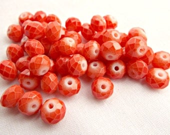 Coral Glass Rondelle, 50 Coral Red Beads, Faceted Red Rondelles, 4x6mm Coral Beads, Opaque Red Coral Rondelles, UK Seller, Jewelry Supplies