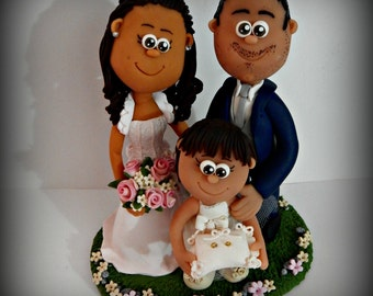 Custom  wedding cake topper with daughter 5/7 years