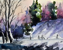 ORIGINAL Watercolor Winter Landscape Painting, Christmas Illustration, Small Format Art 4x6 inch