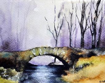 ORIGINAL Watercolor Painting, Autumn Landscape, Stone Bridge Painting 4x6 inch