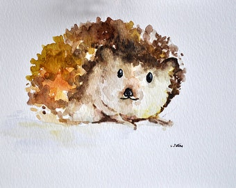 ORIGINAL Watercolor Painting 6x8 Inch, Hedgehog Painting, Animal Painting
