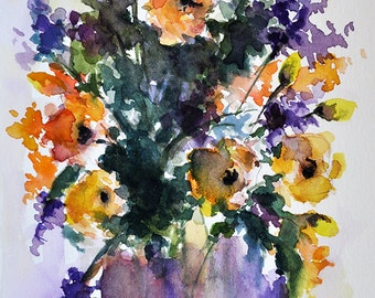ORIGINAL Watercolor Painting, Still Life Floral Painting, Spring Flowers In a Purple Vase 5.5x8 Inch
