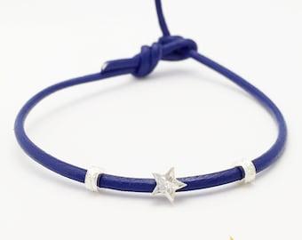 Hawaiian Jewelry Aloha Leather Bracelet Hoku (Star) Charm