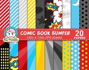 """COMIC BOOK Superhero digital paper pack printable, pattern designs for DIY craft & scrapbooking - instant download. 12"""" x 12"""" Comic book"""